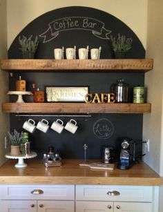 Built in coffee station - but I'd prefer to have a 'corner-cabinet' like this instead of a flat wall.
