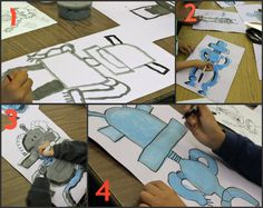 "Art Element Value : Robot Painting Art Lesson Comp 1 ""What would your perfect robot do?"""