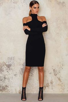 Womens Apparel with free worldwide shipping & returns. Shop from over 100 international brands from the hottest online global marketplace. Balenciaga Spring, Midi Dresses Online, Black Midi Dress, Dress To Impress, Cold Shoulder, Street Style, Clothes For Women, Formal Dresses, My Style