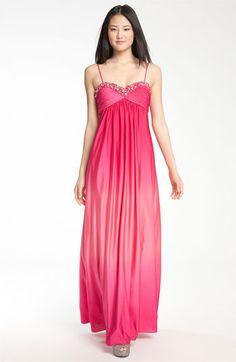 Long option  JS Boutique Empire Waist Ombré Jersey Gown at Nordstrom