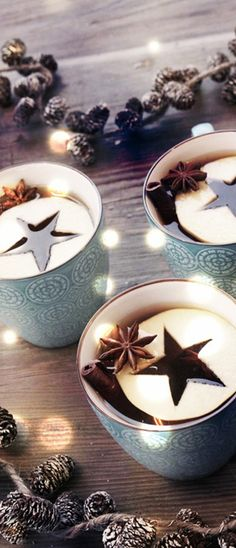 Christmas Drinks - love the apple star idea for mulled cider глинтвейн Christmas Drinks, Noel Christmas, Rustic Christmas, Christmas Treats, Winter Christmas, Christmas Decorations, Christmas Coffee, Holiday Drinks, Winter Drinks