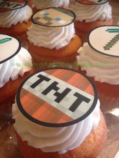 Cupcakes at a Minecraft birthday party! See more party ideas at CatchMyParty.com!