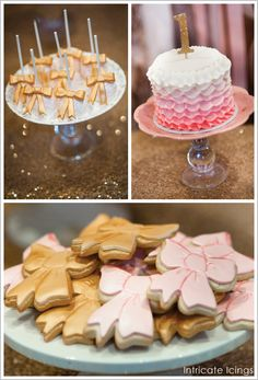 Golden bows made from modeling chocolate take these cake pops to a whole new level of fabulous! They pair perfectly with charming pink and gold bow-shaped cookies.