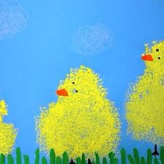 Easter or spring art - uses sponges and watered down tempera pain. Hard to find cute Easter art, this is adorable! Spring Projects, Spring Crafts, Art Projects, Kindergarten Art, Preschool Art, Easter Art, Easter Crafts, Easter Ideas, Art For Kids