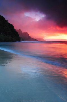 Kauai Sunset in Haena, Hawaii by © Heather Mitchell Photography via Flickr