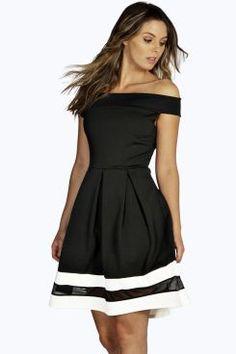42ab220a007e Sarah Off Shoulder Contrast Mesh Skater Dress at boohoo.com Boohoo Dresses,  Black Midi