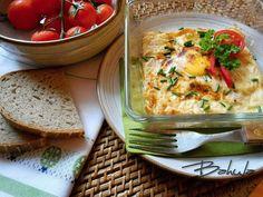 Vaječné mističky se šunkou - TopRecepty.cz Cauliflower, Eggs, Meat, Chicken, Vegetables, Breakfast, Food, Morning Coffee, Cauliflowers