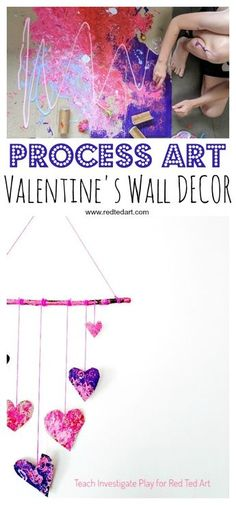 Process Art Valentine\'s Wall Hanging - a wonderful process art project for Valentine\'s. Let the kids go wil dwith their creativity, explore print making and colour mixing and make these gorgeous heart wall hangings for Valentines! #valentines #valentinesday #processart #artforkids #kidscraft