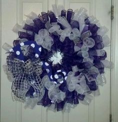 Purple and White Relay for Life Wreath.
