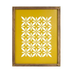 VINTAGE CUT yellow metal and wooden canvas, 32x40cm