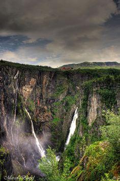 Fossli Hotel and Vøringsfossen waterfall, Eidfjord in Hardanger, Norway. Photo by  Marcel Brussel.