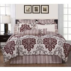 Pointehaven 8 Piece Luxury Bedding Ensemble in Country Ridge $89 Wow price, comes with comforter, skirt, standard shams and euro shams and 2 decorative. Excellent balance of fem/masc.