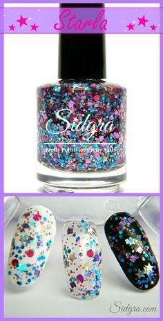 Glitter Nail Polish by Sidgra | Starla | Custom Blended-Full Size Bottle. 5-Free, Vegan, Cruelty Free. $9.99 Sidgra.com #glitternailpolish #sidgra