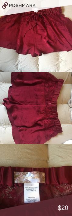 Band of gypsies burgundy shorts Super cute and comfy sleeping shorts that have only been worn once and in super great condition! They are a tad sheer but that's what makes them cute and sexy 😊 Band of Gypsies Intimates & Sleepwear