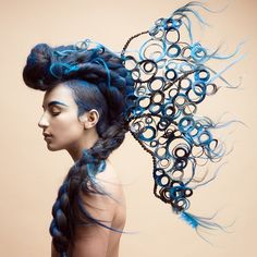 Looking for a little Friday flair? Check out the Hair Upload of the Day by Meleesa Luna on Creative Hairstyles, Up Hairstyles, Fantasy Hairstyles, Crazy Hair, Big Hair, Pelo Editorial, Beauty Editorial, Avant Garde Hair, Extreme Hair