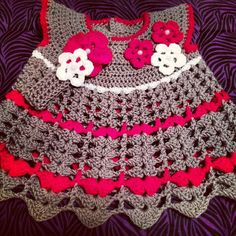 Beautiful Red and Grey Crochet Baby Dress with Matching Headband