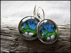 Postage Stamp Earrings  Blue Wildflowers by OhThePost on Etsy, $23.00
