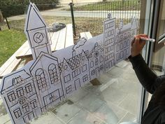 Let's build a house! Wip #windowdrawing photo by Kinderopvang Blij…