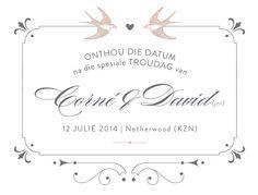 Save-the-Date / Onthou-die-Datum - Susan Brand Design