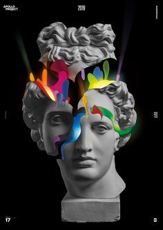 Poster Design is another creative experimention and digital art about carving and cutting the Statue of Apollo with colorful shapes inside. Roman Sculpture, Sculpture Art, Graphic Design Posters, Graphic Design Inspiration, Arte Steampunk, Vaporwave Art, Illustration Art, Illustrations, Glitch Art