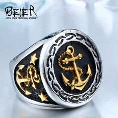Vintage Anchor Ring - For all sea loving stylish men. Looking for a men's gold or silver anchor ring? Choose from our 3 styles. These look amazing on! A great gift for any man in your life. Click the LINK to find out more or get one! Let's go sailing. Anchor Rings, Anchor Jewelry, Cool Rings For Men, Biker Rings, Vintage Style Rings, Biker Style, Fashion Rings, Jewelery, Vintage Fashion