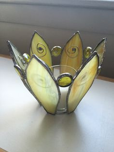 Stained glass ~ Sunflower candle holder