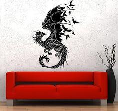dragon gothic vinyl birds fantasy fairytale sticker bedroom decal tales stickers