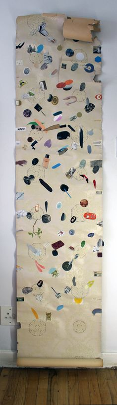 Julia Rosa Clark Beige Scroll 2012 Collage, found images, paper and paint This would be cool to do one drawing of ordinary objects in my life once a day. At the end I would have 365 objects on my scroll.  Could do this for the students for the year as we'll.