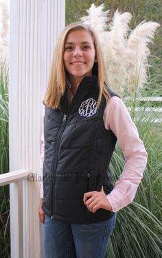 Monogrammed Ladies Puffy Vest by GladevilleFarmhouse on Etsy Fall Outfits, Cute Outfits, Puffy Vest, Classy Girl, I Love Fashion, Playing Dress Up, Preppy, Monograms, Trending Outfits