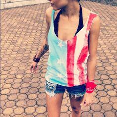 American Flag Rockstar Tank