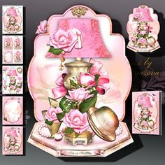 Beautiful Vintage Lamp Hat Perfume and Roses on Craftsuprint designed by Atlic Snezana - Beautiful Vintage Lamp, Hat, Perfume and Roses: 5 sheets for print with decoupage for 3D effect plus few sentiment tags (for your own personal text) - Now available for download!