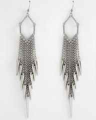 To The Point Silver Spike Chandelier Earrings-$22-Find hot fashion jewellery and statement jewlry at Strike Envy. #jewellery #jewlry