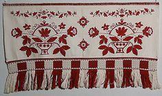 Redwork embroidery from Hälsingland Sweden - broderi från sverige Scandinavian Embroidery, Swedish Embroidery, Wool Embroidery, Hardanger Embroidery, Embroidery Patterns, Retro Crafts, Swedish Design, Folk Fashion, Bohemian Rug