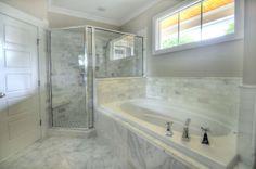 J.R. Huntley Homes, Raleigh, North Carolina, carrara marble, master bathroom