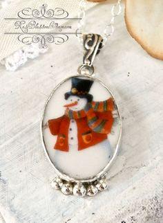 ♕ Broken China Jewelry Snowman Oval Pendant Necklace RoseBlossomCottage.com