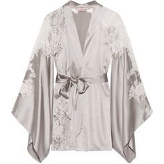 Agent ProvocateurNayeli Leavers Lace-paneled Silk-blend Satin Robe ($458) ❤ liked on Polyvore featuring intimates, robes, pajamas, silver, white lingerie, satin dressing gown, lingerie robe, satin robe and white dressing gown