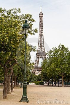 DIY take your favorite picture of Paris and go to Office Depot or other store and have them make you backdrop to be used as your Photo Backdrop for $35 . Lamppost with Eiffel tower in the background