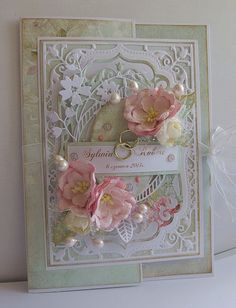 Filigree card with flowers Pretty Cards, Love Cards, Wedding Anniversary Cards, Wedding Cards, Spellbinders Cards, Anna Griffin Cards, Mothers Day Cards, Card Tags, Paper Cards