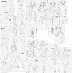 Hair accessories and expressions 11, by FVSJ on deviantART. >> Sketches showing schoolgirl and schoolboy outfits for manga characters.