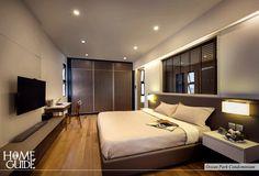 Contemporary master bedroom design at Ocean Park Condominium.