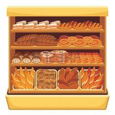 Supermarket  Bread showcase. Exhibición de pan en la panadería.