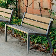 Contemporary public bench in wood and metal (with backrest) ATHÈNES  AREA