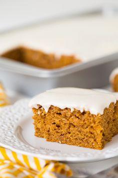 Pumpkin Spice Sheet Cake | tablefortwoblog.com