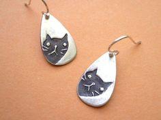 Peeking Cat Earrings - fine silver, lovely kitty jewelry. $22.00, via Etsy.
