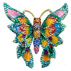 Butler & Wilson Crystal and Enamel Pointed Wings Butterfly Brooch featuring Swarovski crystal and enamel, it fastens with a post pin and revolver clasp.