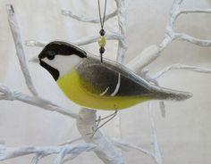 Vitrofusión carbón británico fauna de tit pájaro amante