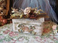 Vintage Shabby Chic Wicker Basket Storage by LesMemoiresdeLuna