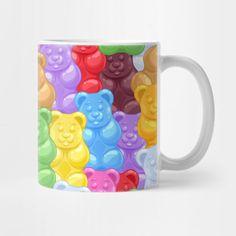 Shop Rainbow Gummy Bear Candy candy mugs designed by NewburyBoutique as well as other candy merchandise at TeePublic. Best Gummy Bears, Vegan Gelatin, Gummy Bear Candy, Thing 1, Car Air Freshener, 10th Birthday, Mug Designs, Fondant, Kawaii