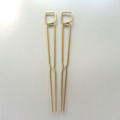 Two brass hairpins at 5 long. Hairpin pictured on model is another style. All items are made to order. Please allow up to 5 days for production. Minimal Wardrobe, Sculpture, Consumerism, Craft Fairs, Things To Buy, Hair Pins, Jewelry Art, Bobby Pins, Handmade Jewelry
