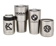 Custom engraved Yeti and Orka tumblers. Engraving available in color or in black.